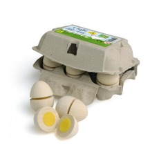 product-Erzi Carton 6 Wooden Eggs, Halved (Toy Set)