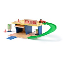 product-Moulin Roty Wooden Petrol Station and Accessories (Toy Set)