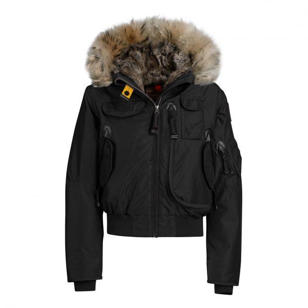 Faux Fur Hooded Gobi Girl Bomber Jacket Black