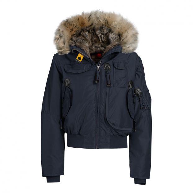 e54dfc308 Faux Fur Hooded Gobi Girl Bomber Jacket Navy blue