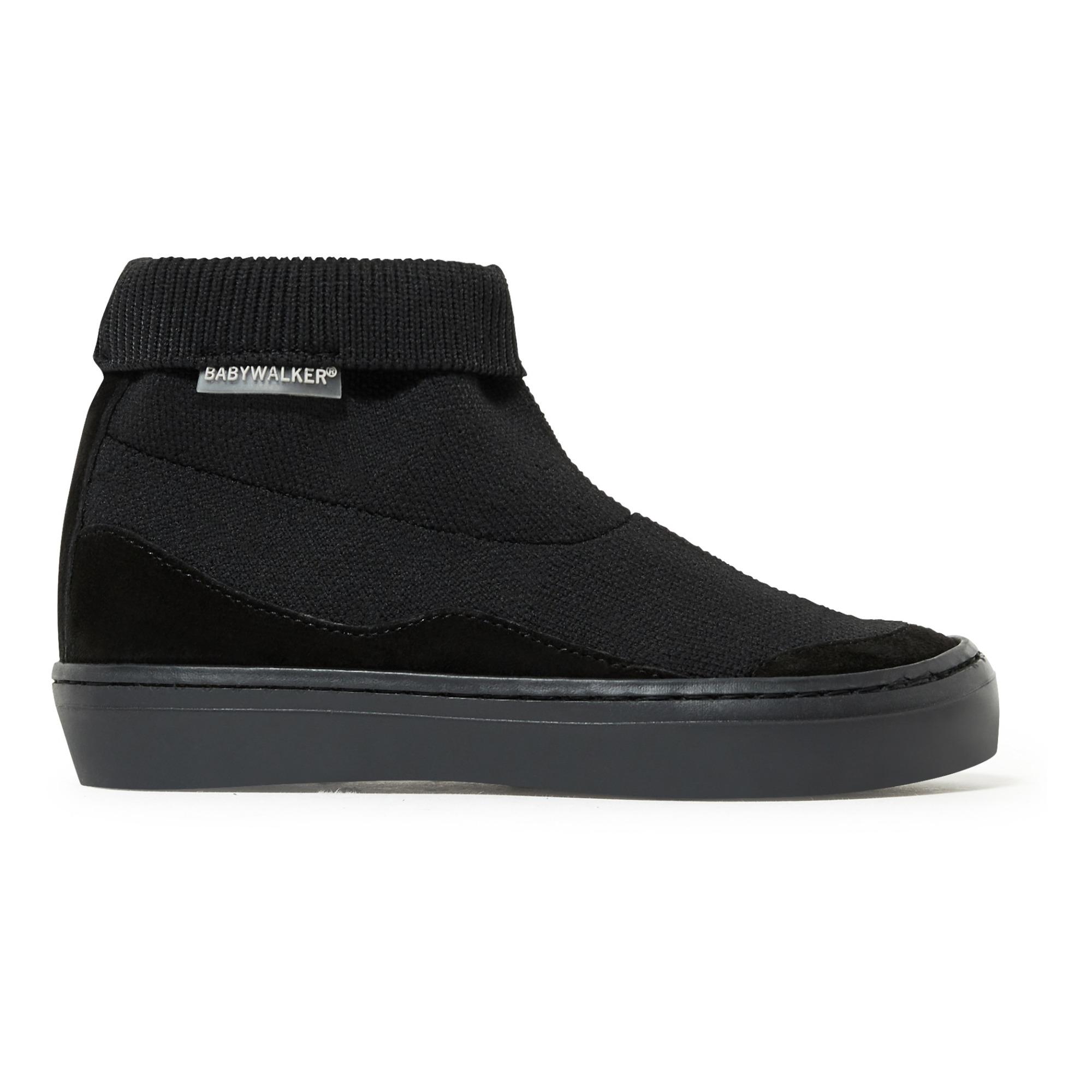 black elasticated trainers