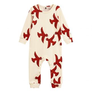 Flying Birds Organic Cotton Jumpsuit White