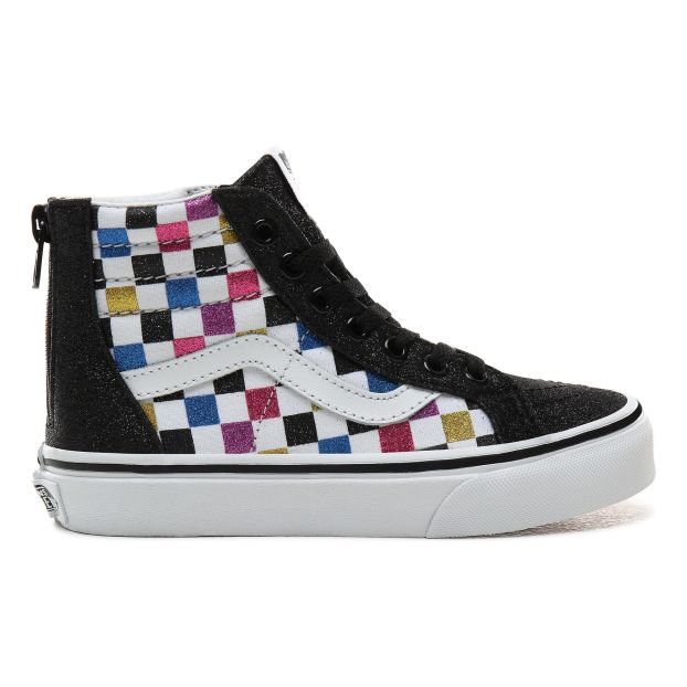 b9e5867703 SK8-Hi Glitter and Suede Zipper Hi-Top Trainers Black