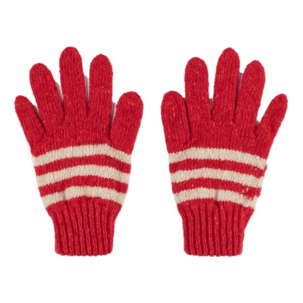 Striped Gloves Red