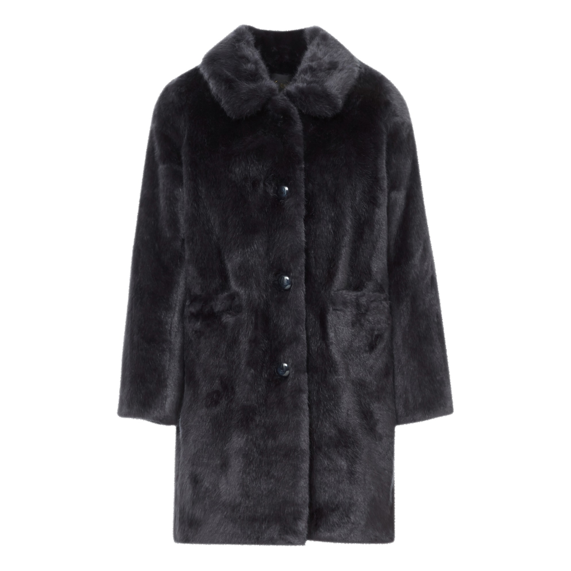 Navy Blue Faux Fur Coat with a Classic Collar
