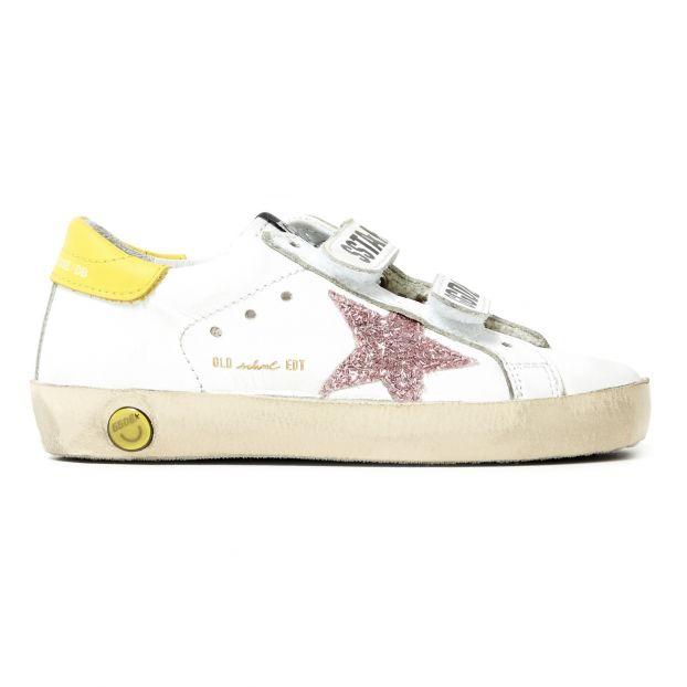 Tennis Weiß Mit School Chaussures Klettverschluss de Leder Old 3R4AjLcq5