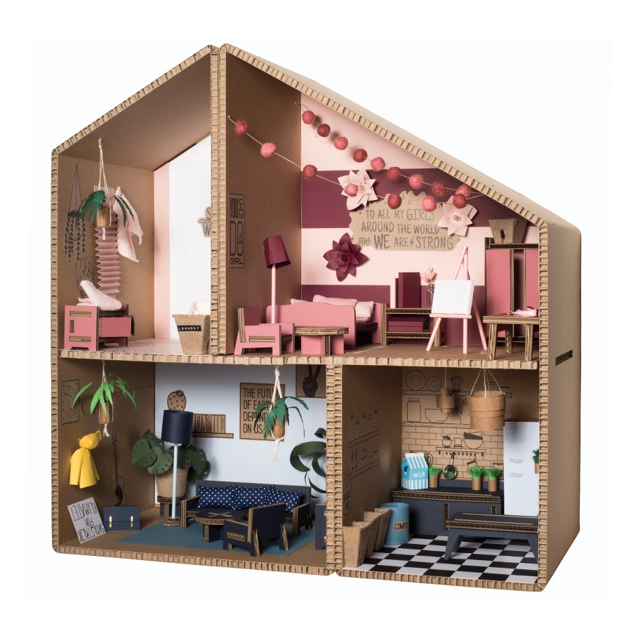DIY Cardboard Doll House Pink Koko Cardboards Toys and Hobbies