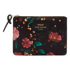 product-Wouf Pochette en toile Black Flowers