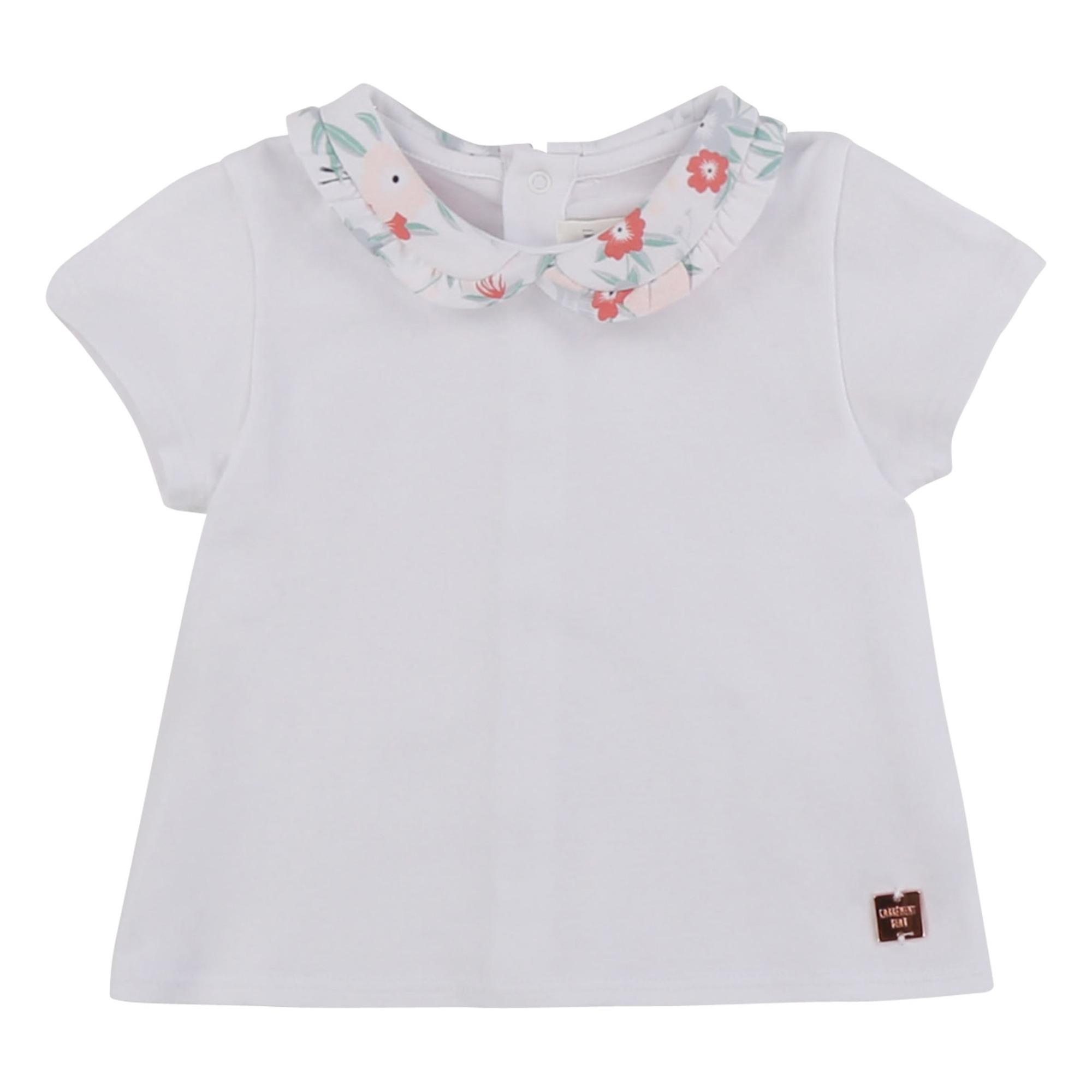 T-shirt Col Fleuri