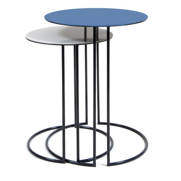 Table Gigogne Ronde Tokyo Set De 2 Sarah Blue Maison Sarah