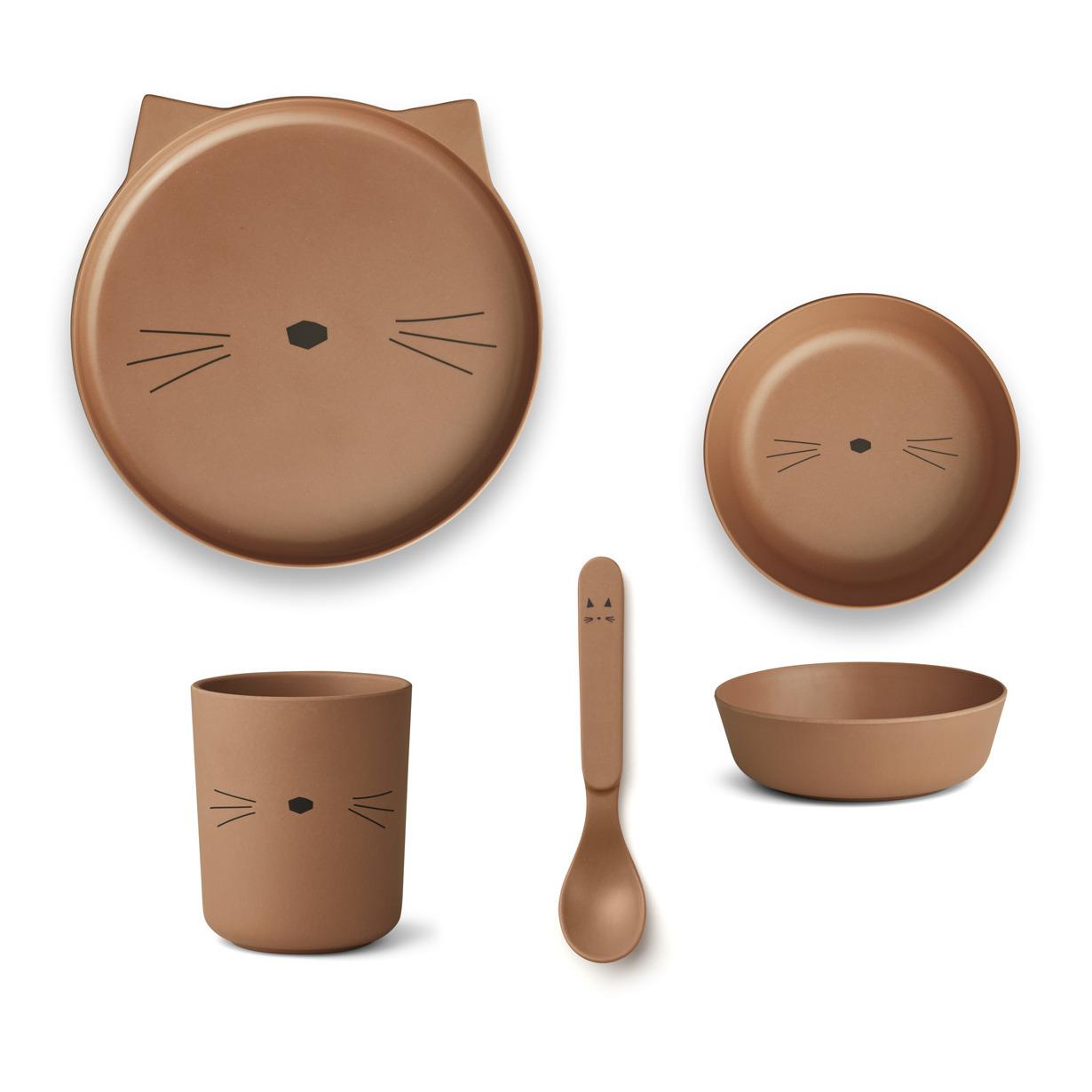 Set vaisselle en bambou Chat