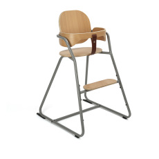 product-Charlie Crane High chair with Tibu tablet, metal and wood structure, leather seat
