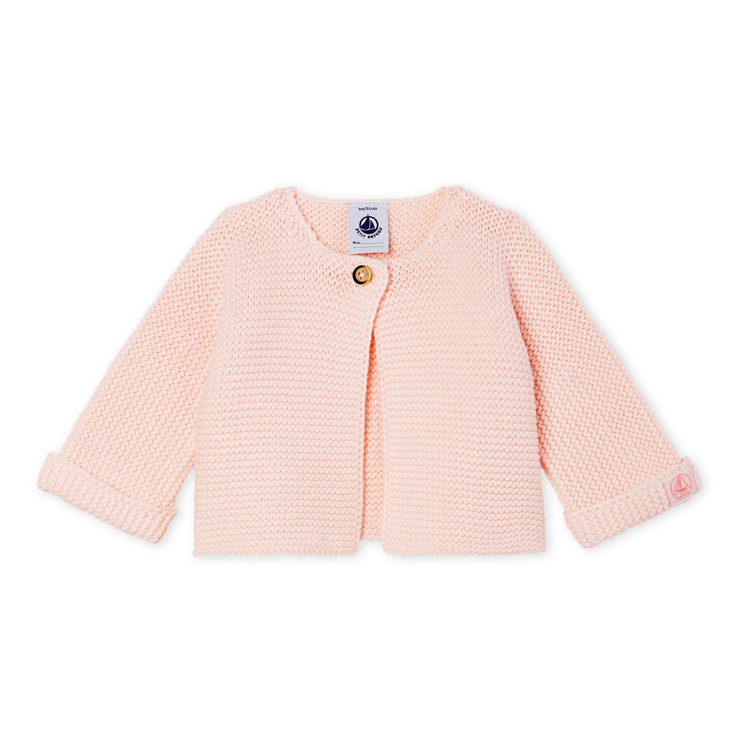 Petit Bateau - Cardigan Fabalero Tricot Coton Bio - Fille - Rose