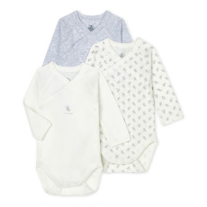 product-Petit Bateau Set of 3 Organic Cotton Crossover Sleeves Onesies
