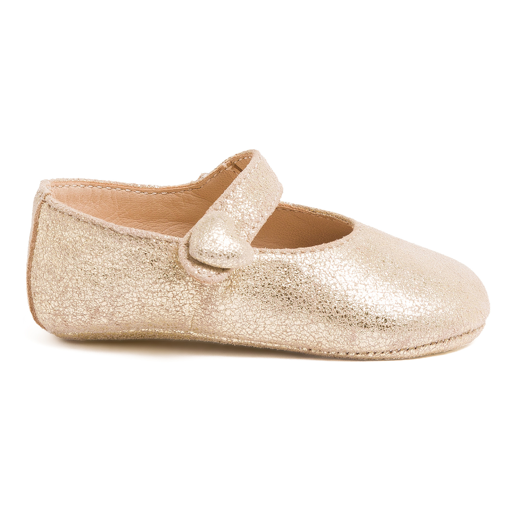 Iridescent Heart Baby Shoes Gold