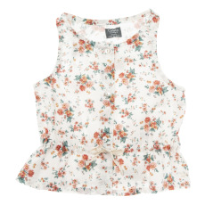 product-Tocoto Vintage Floral Cotton and Linen Top