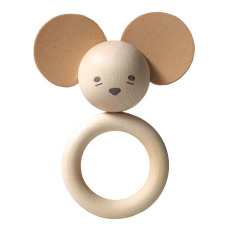 product-garbo&friends Mouse Wood and Natural Leather Teething Ring