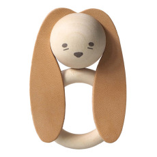 product-garbo&friends Rabbit Wood and Natural Leather Teething Ring