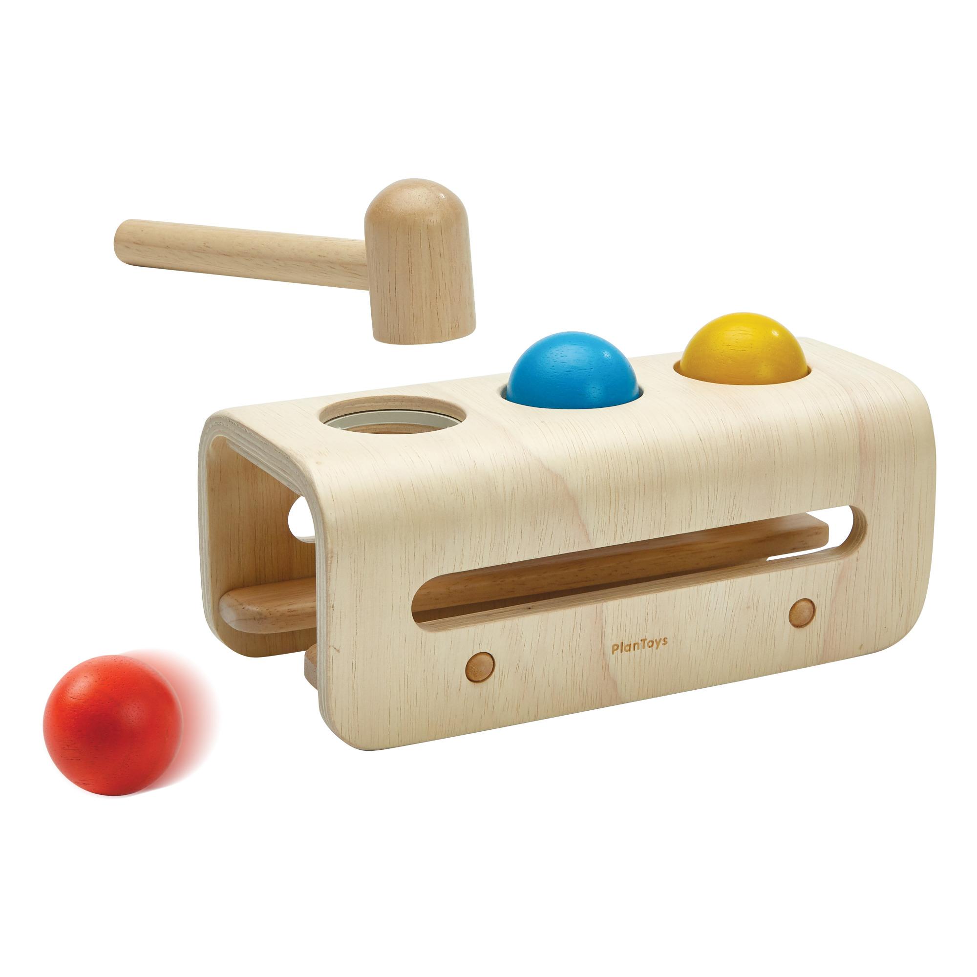 Plan Toys - Banc à marteler en bois naturel 3 balles - Multicolore
