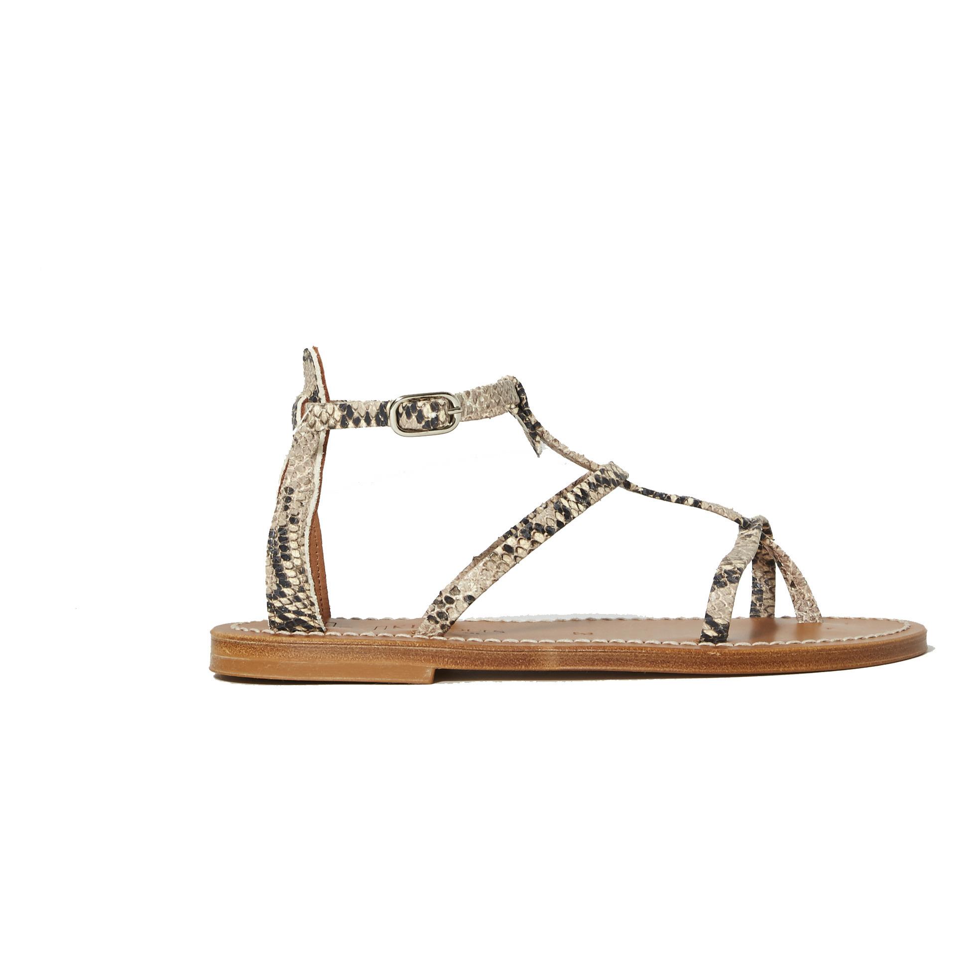 Sandales Antioche Cuir Imprimé Serpent