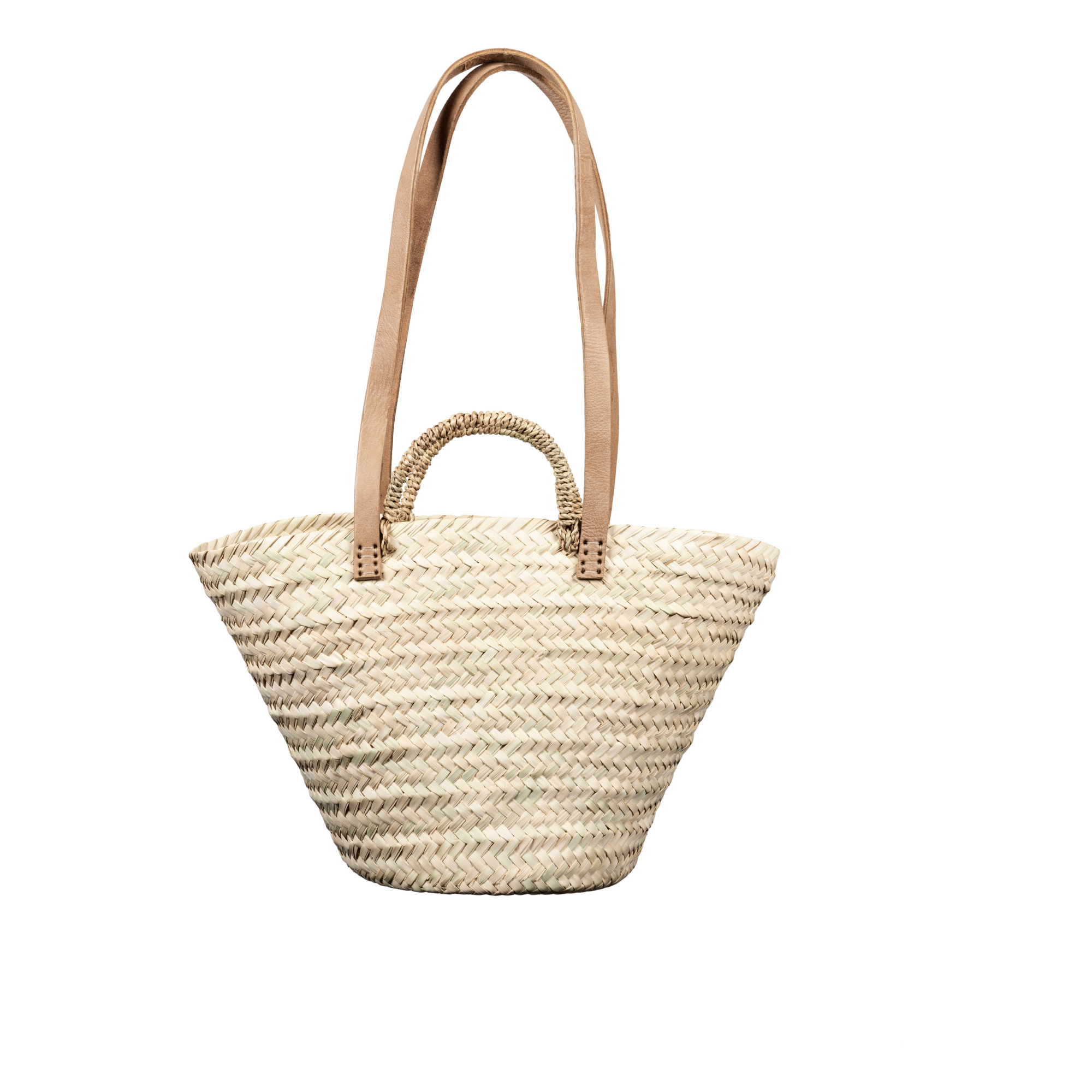 Image of Basket with Leather and Palm Handles