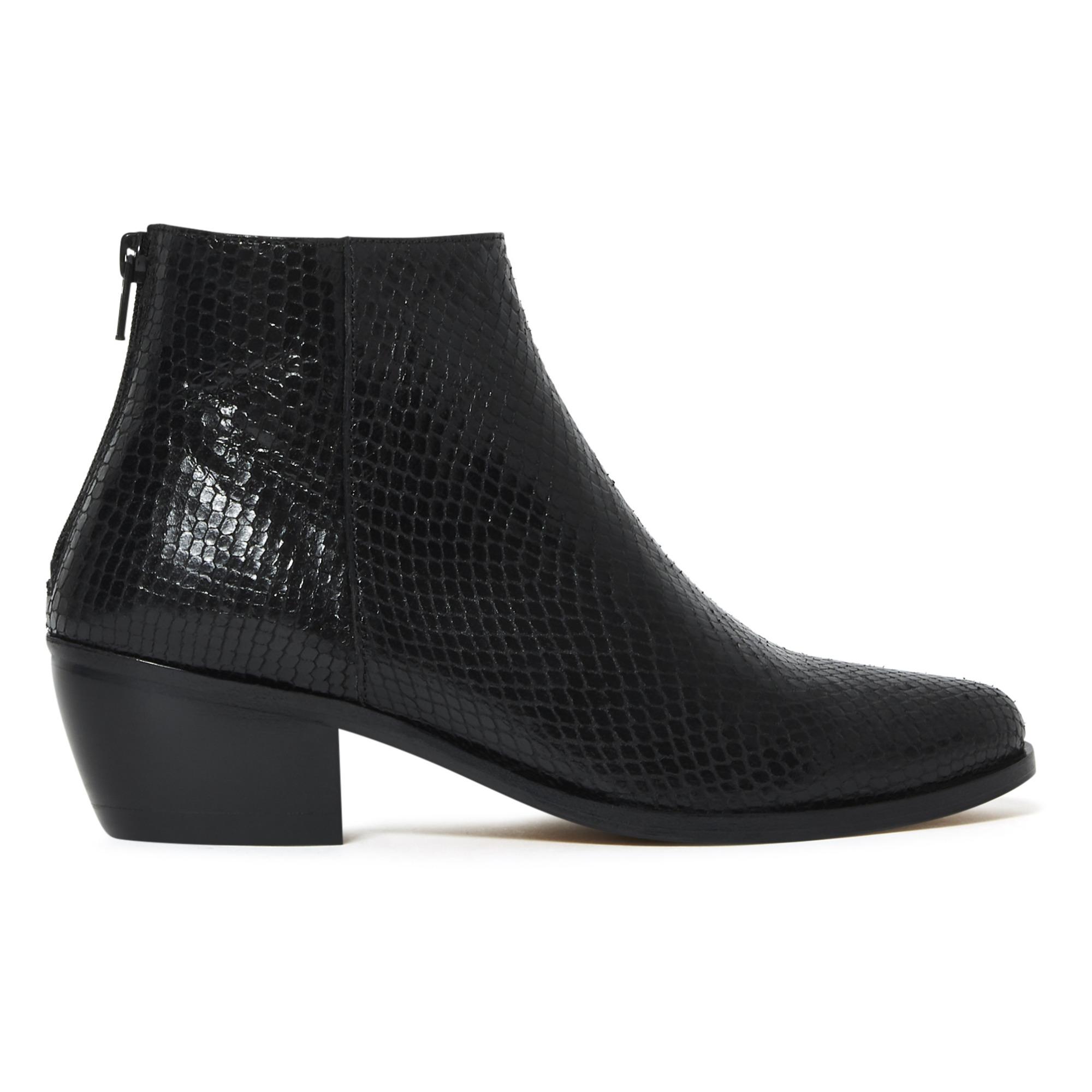 Telma Leather Snakeskin Ankle Boots