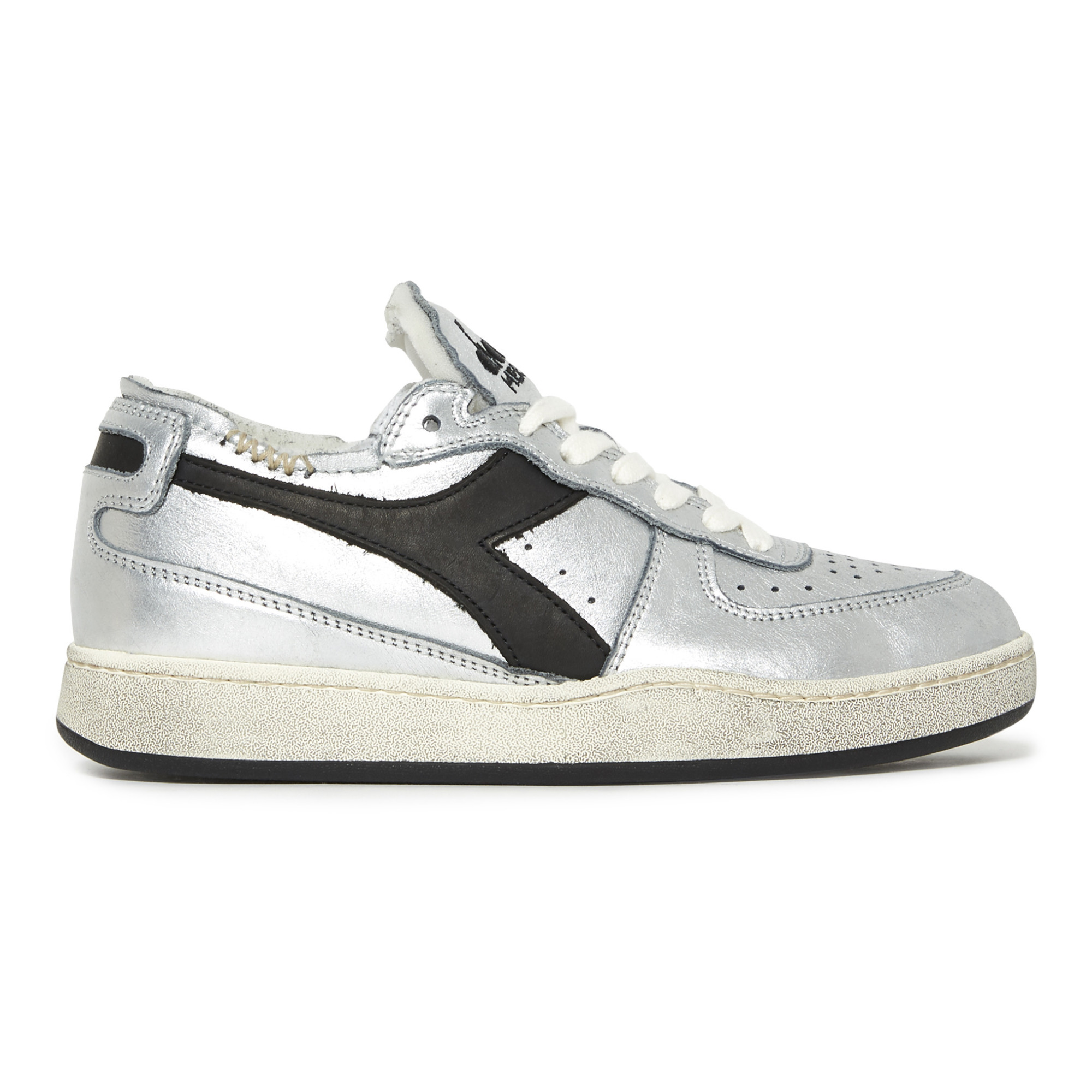 Row Cut Silver High-Top Sneakers Silver