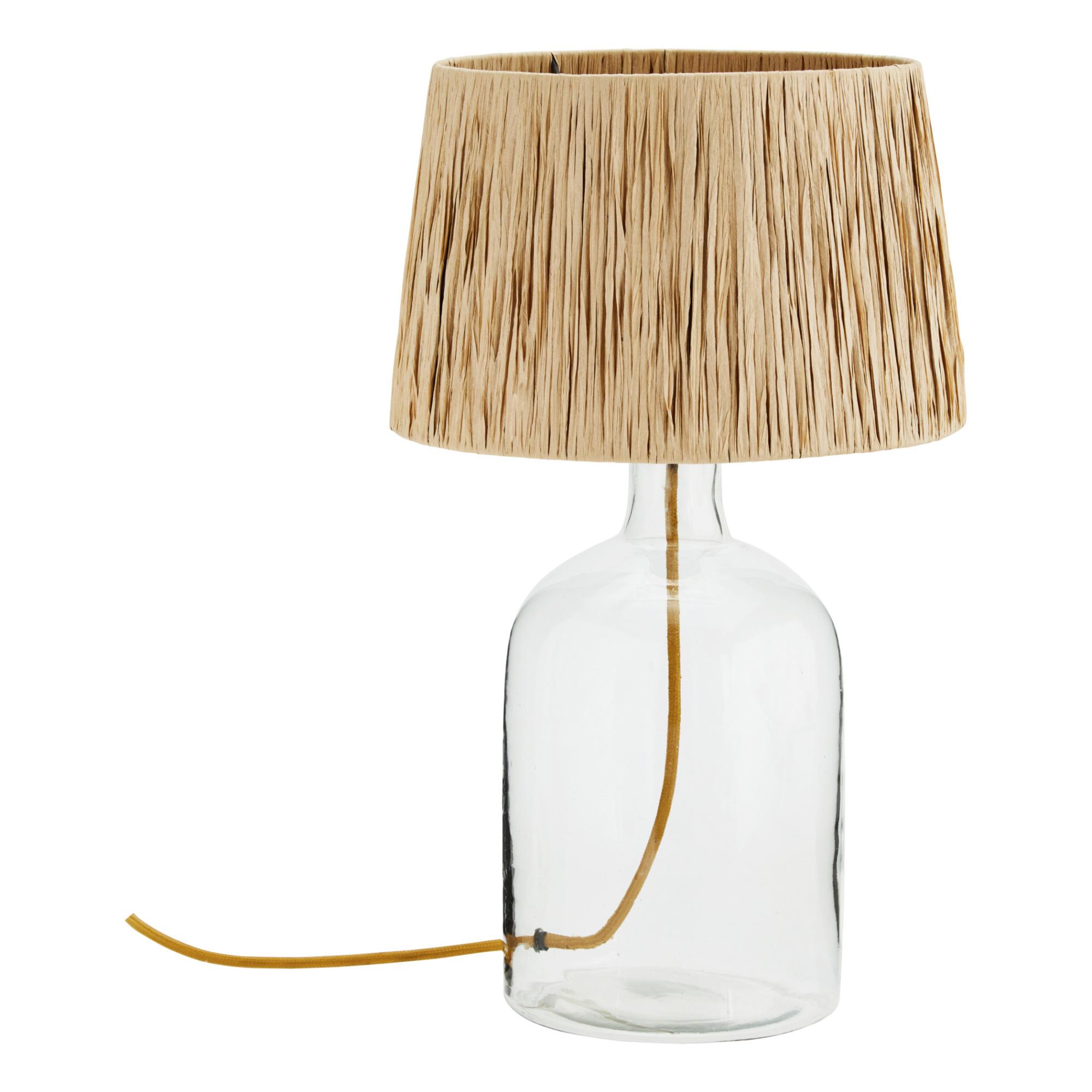 Lampe à poser - base en verre, abat jour en raphia