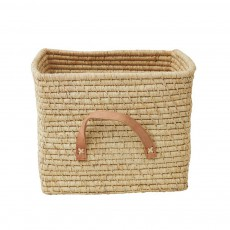 product-Rice Small Square basket in Raffia with Leather hands