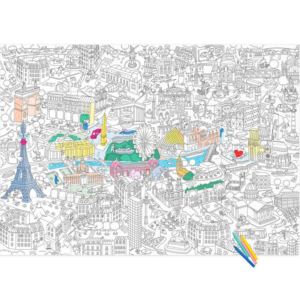 Großes Bild zum Ausmalen Paris Omy Spiele und Freizeit Kind
