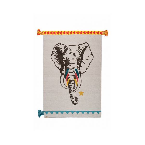 Tapis En Laine Circus Elephant Varanassi Design Enfant
