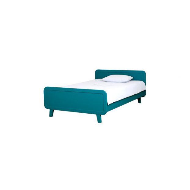 Rundes Bett 120x200 Cm Blau Pfauenblau