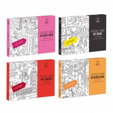 product-Omy Lot de 4 pocket cartes Paris, Londres, Barcelone et New-York