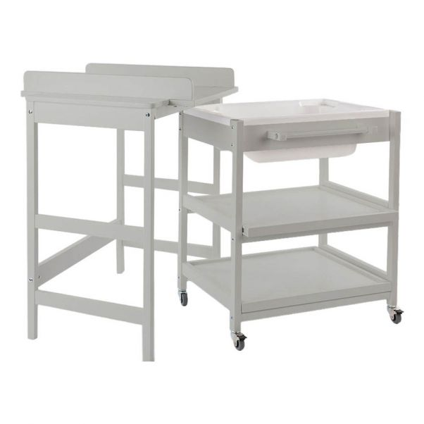 Comfort Smart Changing Table With Bathtub Light Grey Quax Design