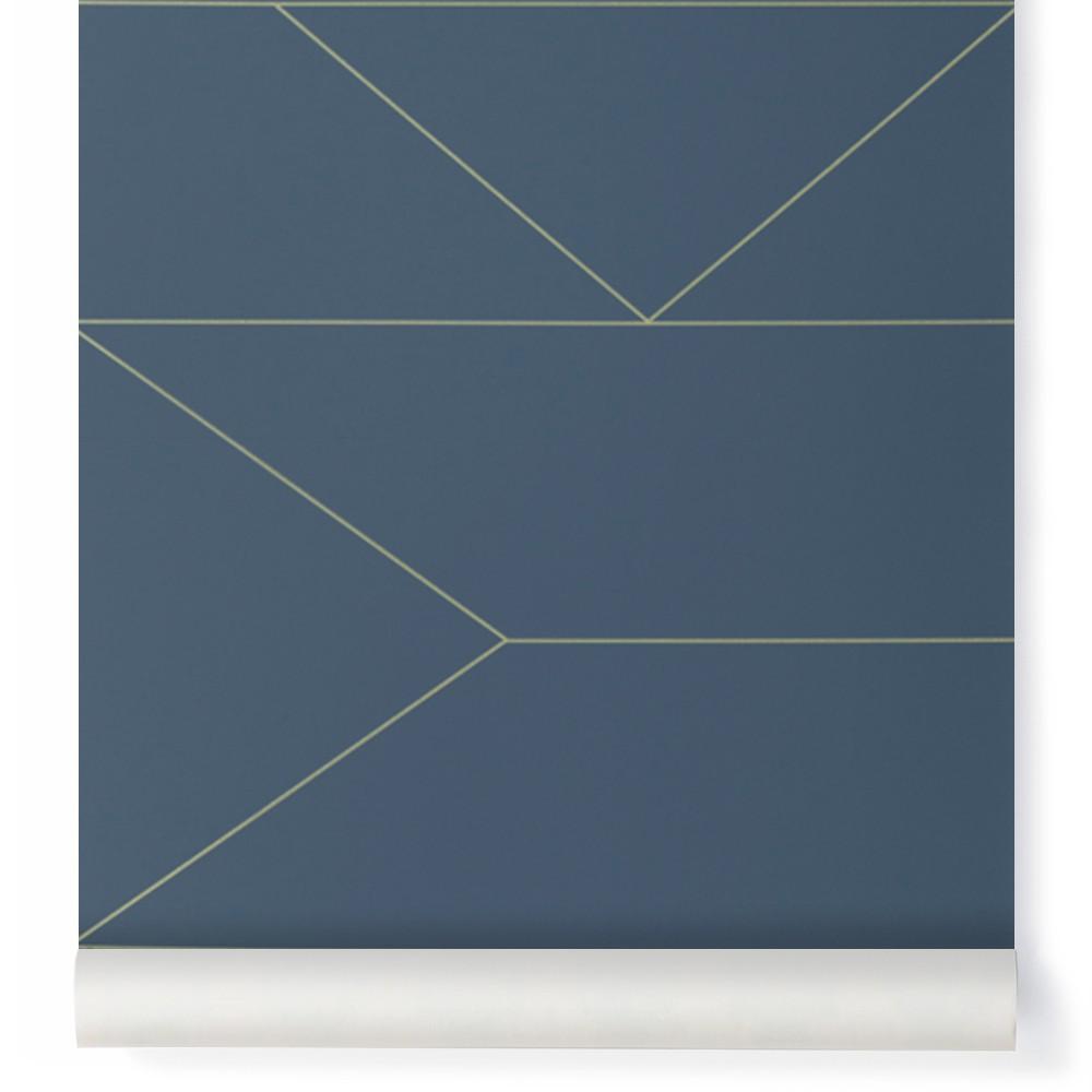 Papier Peint Lines Bleu Nuit Ferm Living Design Adulte