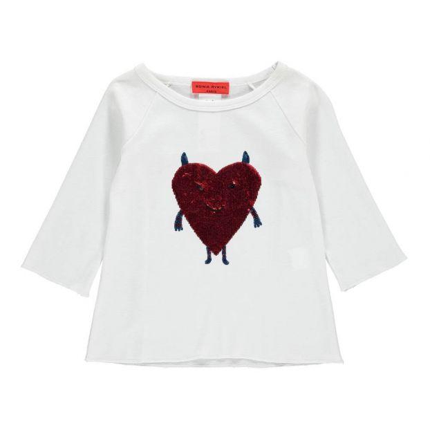 319911668df40 T-Shirt Cœur Sequins Blanc Rykiel enfant Mode Enfant
