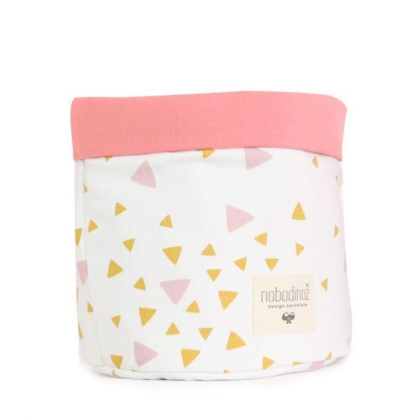 Cesta Mambo triángulos rosa y amarillo Rosa Nobodinoz Design