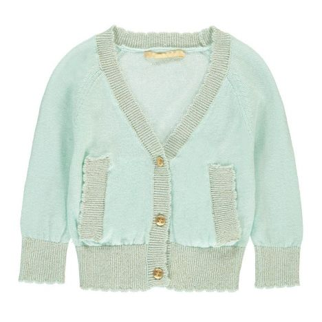 5a9f8dbf5 Chant Lurex Trimmed Cardigan Pale blue Gold Fashion Baby