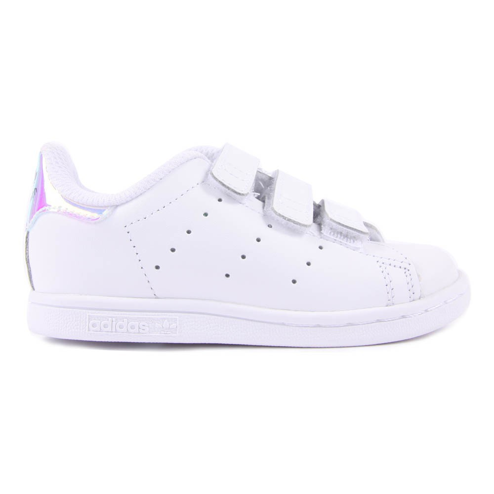 Baskets Cuir 3 Scratchs Irisé Stan Smith Blanc Adidas Chaussure. «