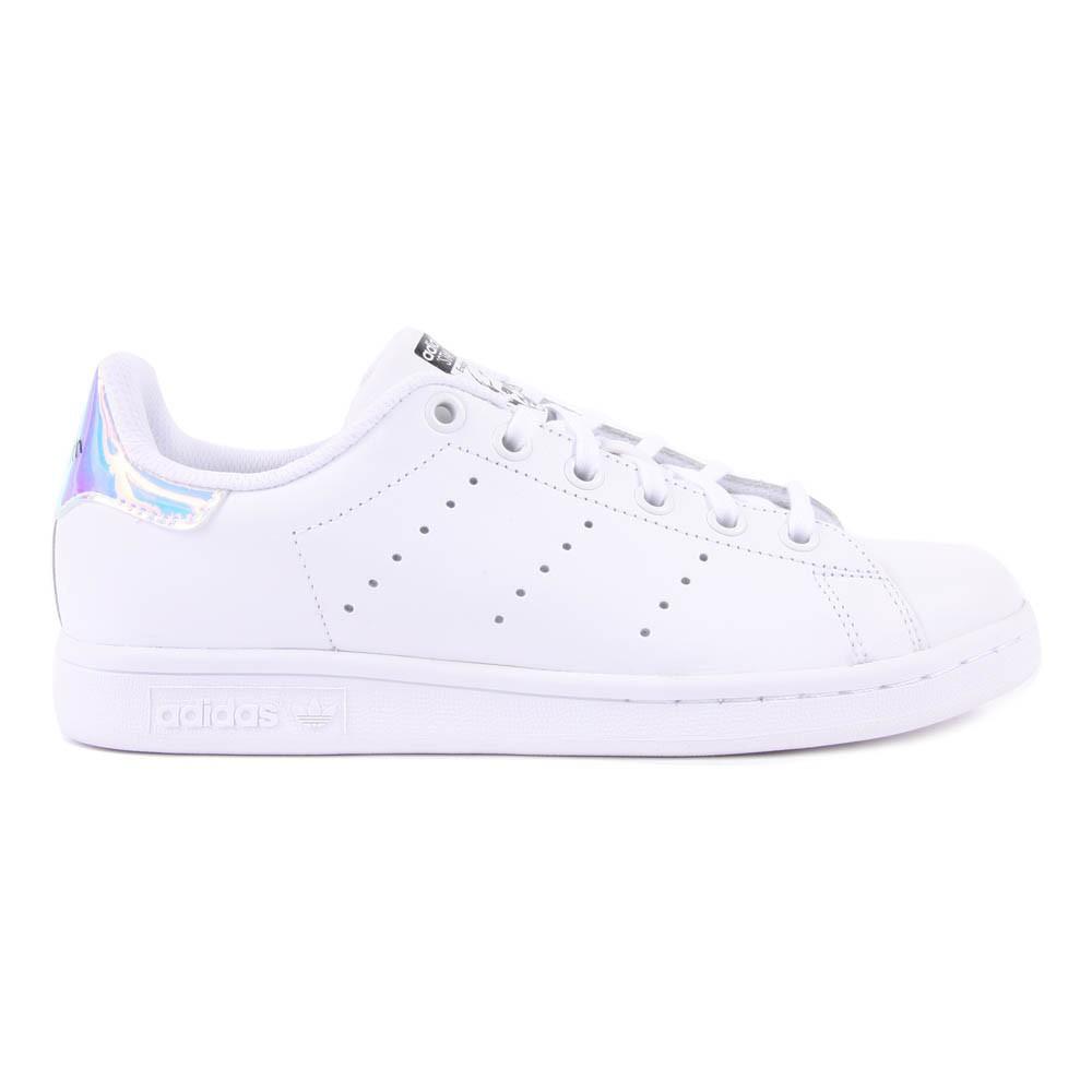 Baskets Lacets Cuir Irisé Stan Smith Blanc Adidas Chaussure. «