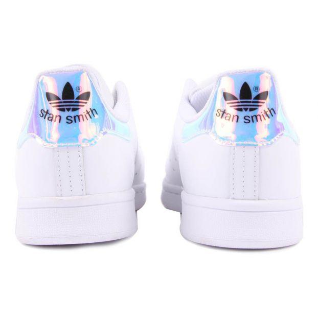 rechercher le dernier chercher recherche de véritables Iridescent Stan Smith Laced Sneakers White Adidas Shoes Teen ,