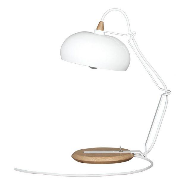 Design Poser Lampe Chêne Et Métal Blanc Rhoda À Lampari j54RAL