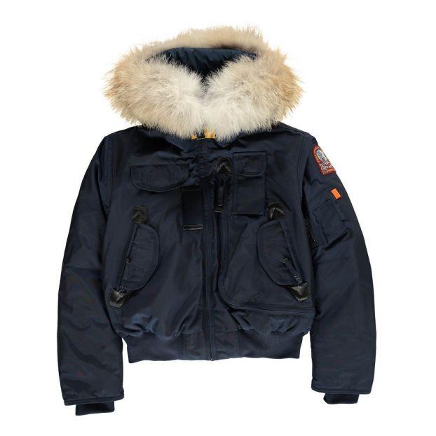 6ea4618a2 Faux Fur Hooded Gobi Boy Bomber Jacket Blue Parajumpers Fashion