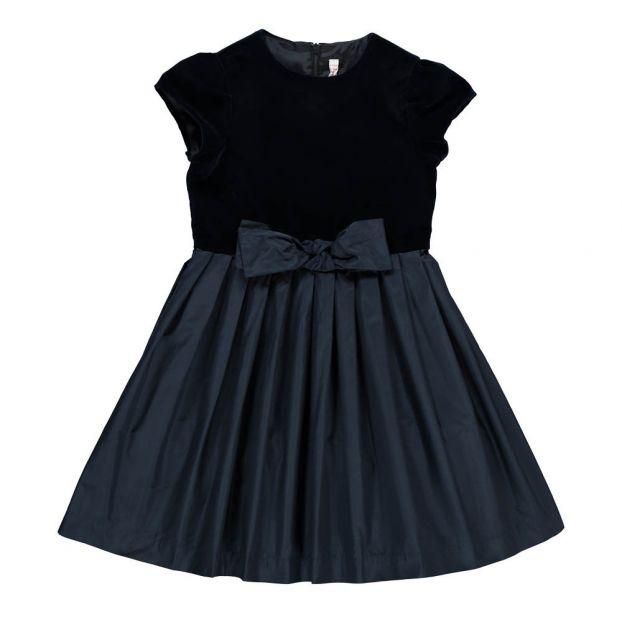 newest 227ce 474d8 Vestito Velluto Bi-materiale Nodo Blu notte