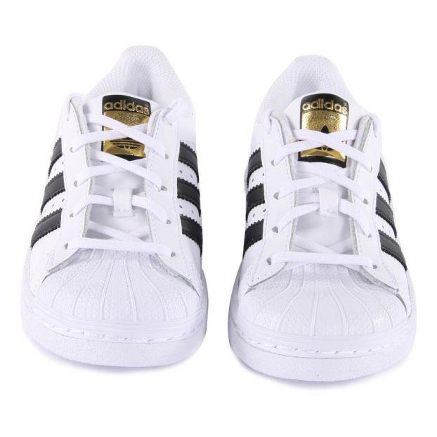 Baskets Lacets Superstar Blanc Adidas Chaussure Adolescent ,