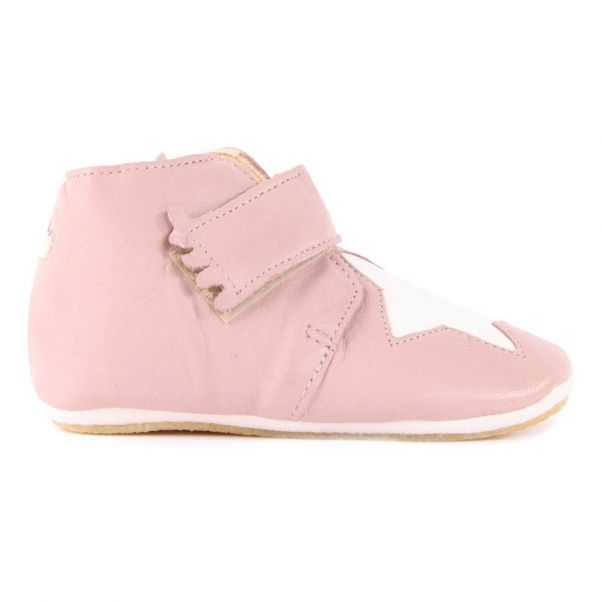 b467d35aceed59 Kiny Star Velcro Leather Slippers Pink Easy Peasy Shoes Baby