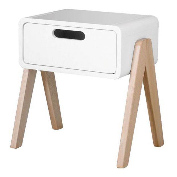 Natural Wooden Foot Little Robot Bedside Table White