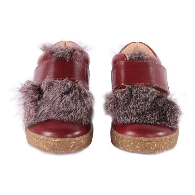 20b734d11cc Zapatillas de Cuero y Piel Velcro Burdeos Ocra Calzado Infantil