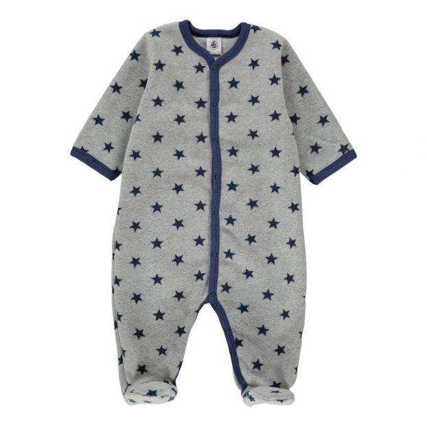 bf7a0e8468e1 Starry Survie Fleece Onesie Royal blue Petit Bateau Fashion Baby