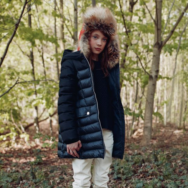 Pulli mit Nylondetails Navy Moncler Mode Teenager , Kind